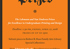 Call for Entries poster, The Lohmann & Van Sinderen Prizes for Undergraduate Printing and Design