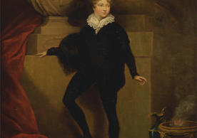 Painting of Master Betty as Hamlet, before a bust of Shakespeare by James Northcote
