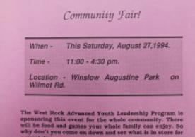 Handout for a 1994 community fair in Winslow Augustine Park, New Haven