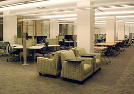 Marx Library Study Room East - Includes public computers, librarian offices, and statistics consultant's station