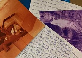 overlapping postcards with images and text
