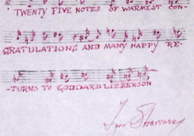 Note from Stravinsky