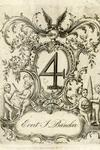[Evert J. Bancker] by Henry Dawkins, circa 1754-1767, approximately 9.5 x 7.5 cm. Pearson-Lowenhaupt Collection of English and American Bookplates (BKP 30)