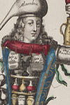 An apothecary carrying medicines on his body.