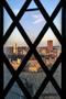 Campus view through diamond-paned window