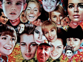 collage of women's faces from a Frank Mouris animated film