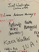 Whiteboard with favorite African American Artists listed for Black History Month